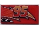 Part No: 87079pb0187R  Name: Tile 2 x 4 with Lightning, Exhaust Pipes and Centered '95' Pattern Model Right Side