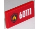 Part No: 87079pb0258  Name: Tile 2 x 4 with White '60111' and Fire Logo on Red Background Pattern (Sticker) - Set 60111