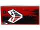 Part No: 87079pb0325  Name: Tile 2 x 4 with White Mask and Dark Bluish Gray Patch and Stitches on Black / Red Halves Tattered Flag Pattern (Sticker) - Set 70316