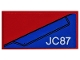 Part No: 87079pb0612L  Name: Tile 2 x 4 with Blue Wing Panel and 'JC87' on Red Background Pattern Model Left Side (Sticker) - Set 76076