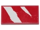 Part No: 87079pb0646  Name: Tile 2 x 4 with 2 Rugged White Diagonal Stripes on Red Background Pattern (Sticker) - Set 75254