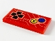 Part No: 87079pb0681  Name: Tile 2 x 4 with Arcade Game Controls, Black Joystick, Yellow and Blue Buttons On Red Background Pattern (Sticker) - Set 71714