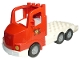 Part No: 87700c02pb01  Name: Duplo Truck Large Cab with White 4 x 8 Flatbed Plate and Fire Logo Pattern