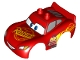 Part No: 88765pb04  Name: Duplo Car Body 2 Top Studs and Spoiler with Cars Lightning McQueen Rust-Eze and Wide Smile Pattern
