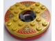 Part No: 92549c04pb01  Name: Turntable 6 x 6 Round Base with Pearl Gold Top with Gold Faces on Red Pattern (Ninjago Spinner)