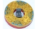 Part No: 92549c04pb02  Name: Turntable 6 x 6 Round Base with Pearl Gold Top with Gold Faces on Blue Pattern (Ninjago Spinner)
