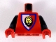 Part No: 973p4dc03  Name: Torso Castle Royal Knights Lion Head on Red/White Shield Pattern / Black Arms / Red Hands