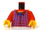 Part No: 973pb0110c01  Name: Torso Harry Potter Plaid Flannel Button Shirt Pattern / Red Arms / Yellow Hands