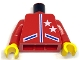 Part No: 973pb0249c01  Name: Torso Race Two Stars Jacket Pattern with Blue Lines / Red Arms / Yellow Hands