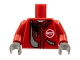 Part No: 973pb0295c01  Name: Torso Racers Jacket and White Neck with Silver Stripe Pattern / Red Arms / Dark Gray Hands