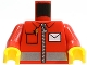 Part No: 973pb0459c01  Name: Torso Postal Worker, White Envelope and Zipper Pattern / Red Arms / Yellow Hands
