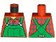 Part No: 973pb0547  Name: Torso Overalls Green (Farmer), Blue Windowpane Check Shirt - Printed Back Pattern