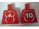 Part No: 973pb0558  Name: Torso Soccer Adidas Logo, Red and White No.10 Pattern (Stickers)