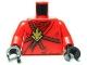 Part No: 973pb0832c01  Name: Torso Ninjago Brown Rope, Gold Medallion and Dark Red Undershirt Pattern / Red Arms / Black Hands