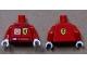 Part No: 973pb0920c01  Name: Torso Racers Ferrari/Shell front, Ferrari Logo back (Stickers) with K. Raikkonen Name Pattern / Red Arms / White Hands