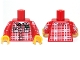 Part No: 973pb0928c01  Name: Torso Plaid Shirt with Buttons, Pockets and 'Kel' Pattern / Red Arms with Plaid Shirt Pattern / Yellow Hands