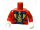 Part No: 973pb0939c01  Name: Torso Jacket with Blue and Yellow Lapels, Blue Vest, Green Shirt and Yellow Tie with Polka Dots Pattern (Clown Suit) / Red Arms / White Hands