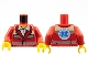 Part No: 973pb0996c01  Name: Torso Open Collar with White Shirt, Safety Stripes, EMT Star of Life on Back Pattern / Red Arms / Yellow Hands
