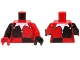 Part No: 973pb1108c01  Name: Torso Batman Female Outline with Black Quarters Front and Back, White Jester's Collar Pattern / Red Arm & Black Hand Left / Black Arm & Red Hand Right