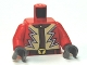Part No: 973pb1383c01  Name: Torso Jacket with Lightning Zigzag and Steer / Bull's Head Belt Buckle Pattern / Red Arms / Dark Bluish Gray Hands