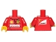 Part No: 973pb1701c01  Name: Torso Racers Ferrari/Shell, Santander Logo Front, Scuderia Ferrari Logo Back Pattern (Stickers) / Red Arms / Yellow Hands