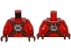 Part No: 973pb2241c01  Name: Torso Nexo Knights Bare Chest with Silver Circular Chest Armor with Straps Pattern / Red Arms / Dark Red Hands