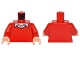 Part No: 973pb2250c01  Name: Torso Batman Sweater V-Neck over Button Down White Shirt Pattern / Red Arms / Light Nougat Hands