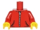 Part No: 973pb2390c01  Name: Torso Hoodie with 2 Pockets and Silver Zipper Pattern / Red Arms / Yellow Hands
