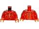 Part No: 973pb2446c01  Name: Torso Nexo Knights Bare Chest with Dark Red, Yellow and Orange Bones Pattern / Red Arms / Orange Hands