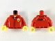 Part No: 973pb3004c01  Name: Torso Speed Champions with Ferrari Logo over White Shirt Pattern / Red Arms / Yellow Hands
