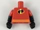 Part No: 973pb3110c01  Name: Torso Orange Belt and Incredibles Symbol Pattern (Dash Parr) / Black Arms with Red Short Sleeves Pattern / Black Hands