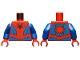 Part No: 973pb3367c01  Name: Torso, Black Spider, Dark Red Webbing, Blue Vest and Belt Pattern / Blue Arms / Red Hands