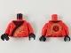 Part No: 973pb3400c01  Name: Torso Ninjago Robe with Black Hem and Gold Dragon Pattern / Red Arms / Black Hands