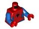 Part No: 973pb3910c01  Name: Torso Spider-Man Costume 11 Black Spider, Dark Red Webbing, Blue Vest and Belt Pattern / Blue Arms / Red Hands