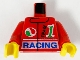 Part No: 973px36c01  Name: Torso Jacket, Octan Logo, Green '1', Blue 'Racing' Pattern / Red Arms / Yellow Hands