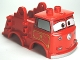 Part No: 98247pb01  Name: Duplo Car Body Truck with Cars 'Red' Fire Logo Pattern (Fits over Car Base 2 x 4)