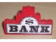 Part No: BA007pb01  Name: Stickered Assembly 8 x 1 x 4 with 'BANK' and Dollar Sign Pattern (Sticker) - Set 6765