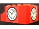 Part No: BA128pb01  Name: Stickered Assembly 5 x 4 x 2 with Clock on Red Background Pattern on 2 Sides (Stickers) - Set 148 - 4 Brick 1 x 4, 1 Brick 1 x 2