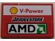 Part No: BA188pb01L  Name: Stickered Assembly 3 x 2 with Shell 'V-Power', Bridgestone and AMD Logo Pattern Model Left Side (Sticker) - Set 8142-2 - 1 Tile 1 x 2, 1 Tile 2 x 2