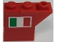 Part No: BA201pb01L  Name: Stickered Assembly 3 x 1 x 2 with Italian Flag on Red Background Pattern Model Left Side (Sticker) - Set 8157 - 1 Brick 1 x 1, 1 Brick 1 x 2, 1 Slope, Inverted 45 2 x 1