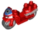 Part No: dupmc3pb03  Name: Duplo Motorcycle with Rubber Wheels, Spider Web, Headlights and Spider-Man Logo Pattern