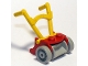Part No: fabad2  Name: Fabuland Utensil Lawnmower with Light Gray Wheels and Yellow Handles