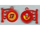 Part No: x222pb03  Name: Fabuland Sign on Pole with Stamp & Horn Pattern (Stickers) - Set 3675