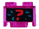 Part No: 3941pb28  Name: Brick, Round 2 x 2 with Axle Hole with Red Question Mark and Dark Turquoise Pixels on Black Background Pattern (Sticker) - Set 71708