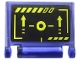 Part No: 24093pb027  Name: Minifigure, Utensil Book Cover with Yellow Circle, Arrows, and Stripes on Black Background Pattern (Sticker) - Set 71711