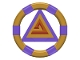 Part No: 87748pb06  Name: Ring with Center Triangle with Gold Bands and Triangle Pattern (Atlantis Treasure Key)