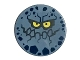 Part No: 14769pb184  Name: Tile, Round 2 x 2 with Bottom Stud Holder with Rock Creature Face with Jagged Grin, Dark Blue Spots and Yellow Eyes Pattern