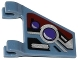 Part No: 44676pb017L  Name: Flag 2 x 2 Trapezoid with 2 Purple Lights and Silver, Dark Red and Black Markings Pattern, Model Left (Sticker) - Set 70166