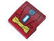 Part No: 15068pb268  Name: Slope, Curved 2 x 2 with Dark Red and Gold Armor Plates and Rectangular Arc Reactor Pattern (Sticker) - Set 76104