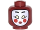 Part No: 3626cpb1777  Name: Minifigure, Head White Kabuki Mask with Black Eyebrows, Yellowish Green Eyes, Round Red Cheeks and Red Lips Pattern - Hollow Stud